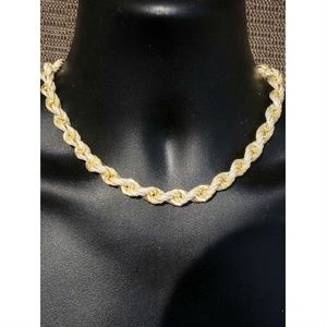 Harlembling Gold Diamond  Men's Silver Rope Chain